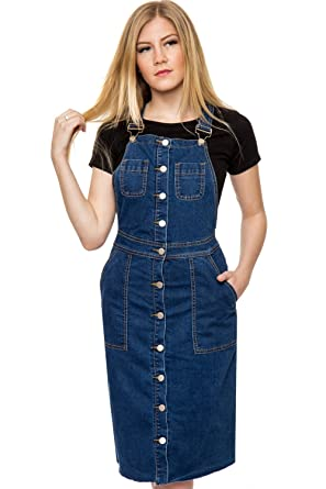 9b346c26161 WearAll Women s Denim Button Through Pocket Sleeveless Dungaree Ladies  Pinafore Dress - Blue - 14