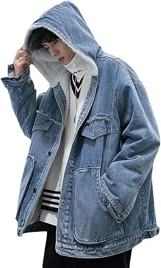 BEIBANGボアデニムジャケット メンズ 裏ボア ジージャン 厚手 防寒 コート デニム ジャケット フード付き 裏起毛 あったか 冬 アウター 大きいサイズ デニムコート