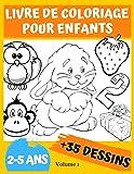 Livre de coloriage pour enfants 2-5 ans: Avec + de 35 Dessins à Colorier. Un livre de création pour les petits...