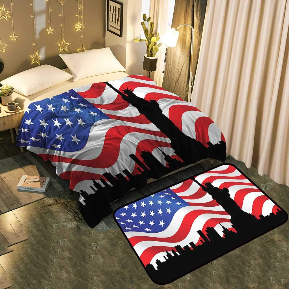 color02 Blanket 70 x90  Mat 6'X9' Warm Blanket and Floor mat Double Exposure View of Flag and Clouds America Old Glory Sign Memorial Comfortable Home Decor Blanket 60 x78  Mat 5'X8'