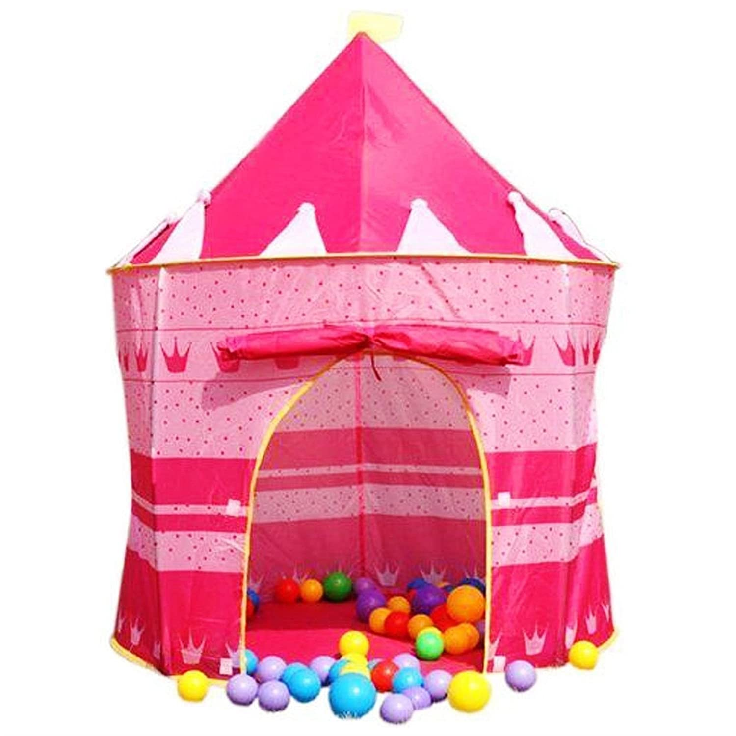 Unibos Exclusive 2015//16 Pink Crown Fairy Princess Tale Castle Pop Up Childrens Tent with Windows and Roll Up Door Pink Girls Indoor or Outdoor Use Girls Pink Toy Play Tent Assorted Design//Colour Den Playhouse