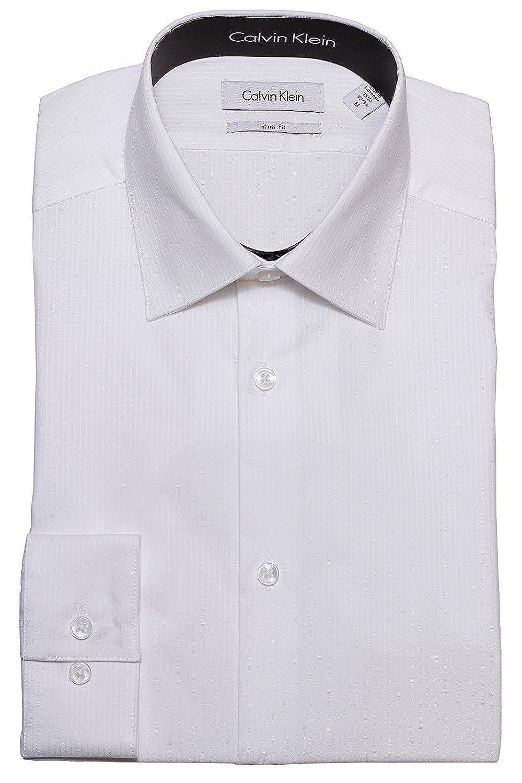 Calvin Klein Tonetone Stripe Slim Fit 100 Cotton Solid Dress Shirt