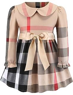 c13346980c30 Aivdoirla Princess Dress Baby Girls Plaid Dress Long Sleeve Cute Party  Playwear