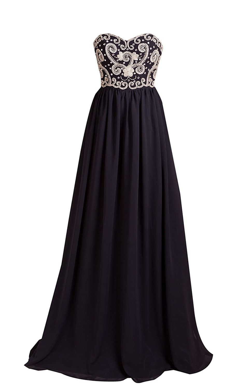 AngelDragon Strapless Beading Evening Prom Dress Long Chiffon Ball Gowns