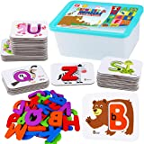 CozyBomB Toddler Alphabet Flash Cards - Preschool Activities Learning Montessori Toys ABC Wooden Letters Jigsaw Numbers Alpha