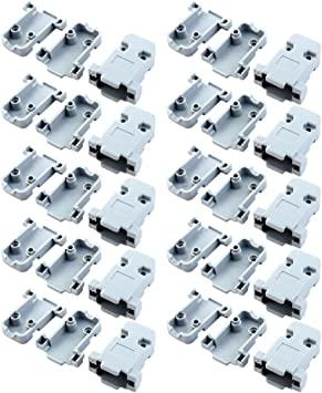 uxcell 20 Pcs Plastic Cover Shell Housing Gray for D Sub DB9 9Pin Connector