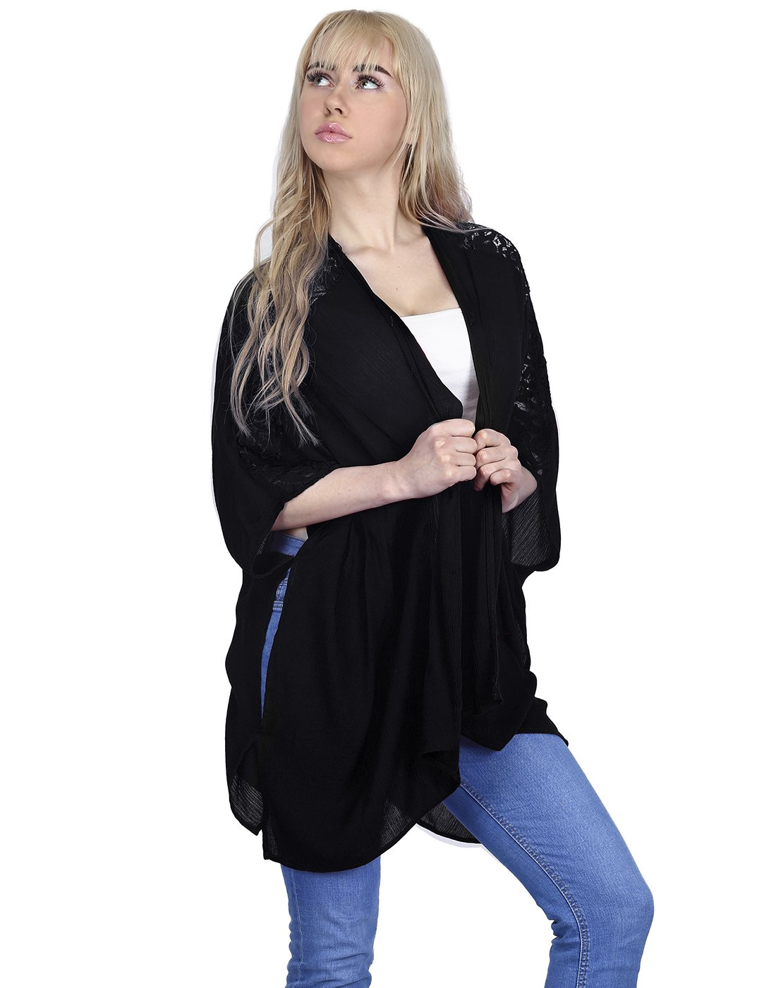 HDE Women's Plus Size Open Front Kimono Cardigan Loose Lace Sleeves Blouse Top (Black, 3X)