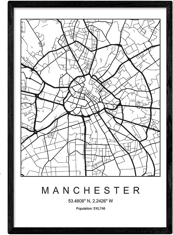 Nacnic Lámina Mapa de la Ciudad Manchester Estilo nordico en ...