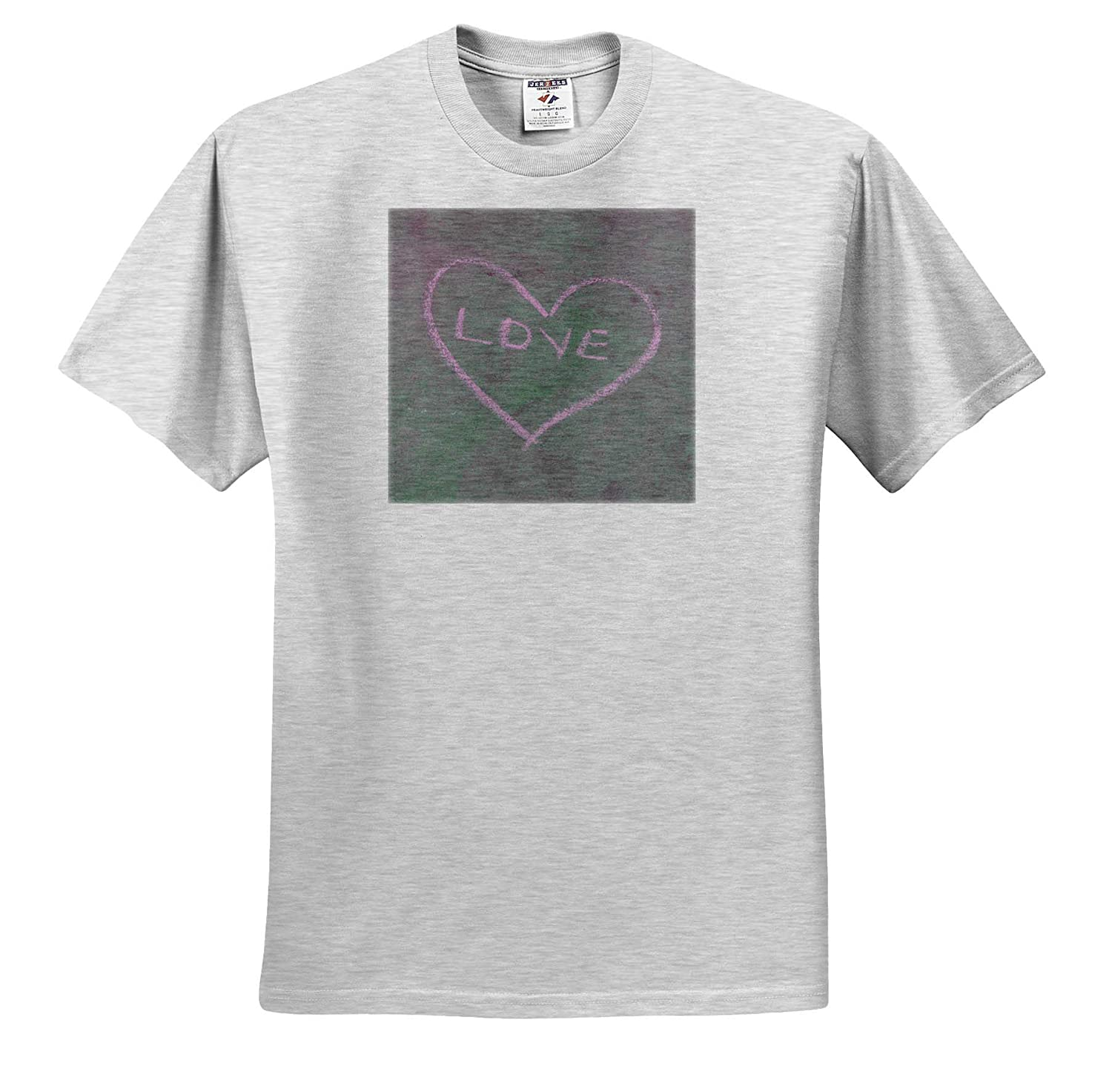 ts/_317895 Adult T-Shirt XL 3dRose Jos Fauxtographee- Love A chalked Love in a Heart on a Sidewalk