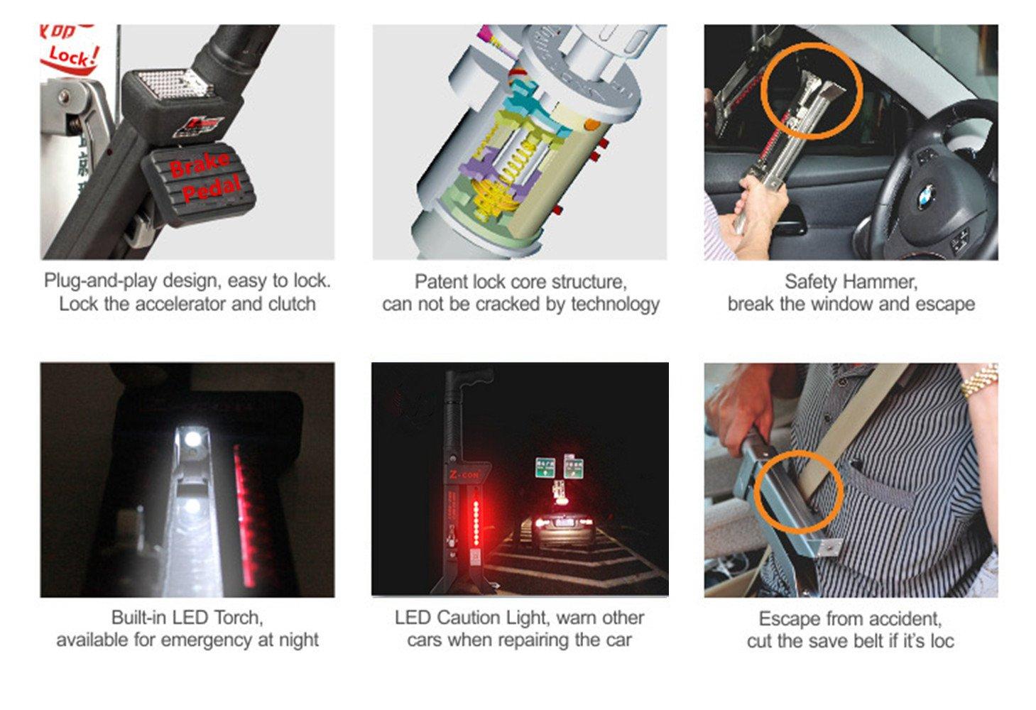 z-con embrague freno de bloqueo Lock antitheft Pure multifunción de acero inoxidable bloqueo de seguridad para freno para barra de ancho 15 mm - 35 mm de ...