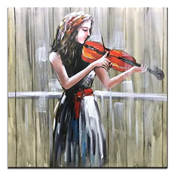 Boiee Art,32x32 Inch Violin Girl Cancas Painting Wall Art Elegant Lady  Painting Contemporary Artwork for Home Wall Decoration Music Art Wood  Inside