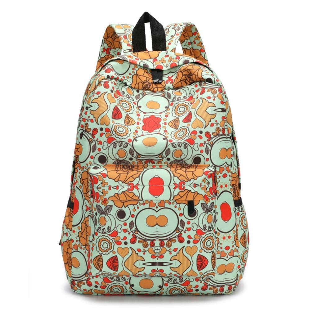 Vacally Fresh Style Women Backpacks Floral Print Bookbags Female Travel Backpack (A)