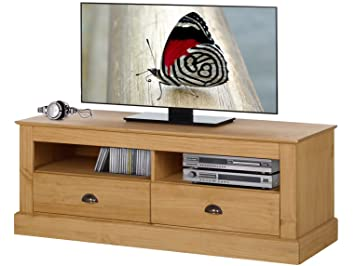 KAIA TV Lowboard Stand Bench Cabinet Entertainment Unit 2 Doors Living Room  Solid Pine Wood (