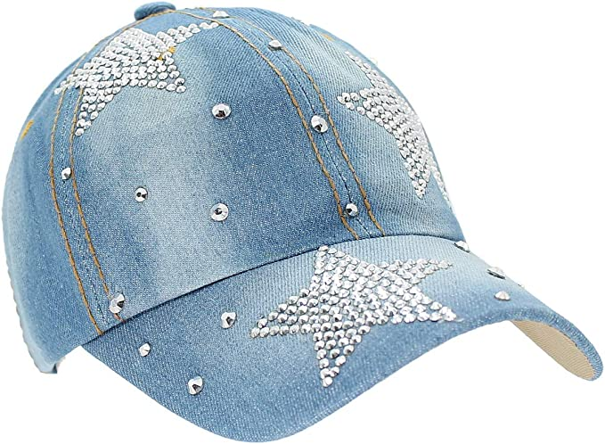 dy/_mode Basecap Damen Jeans Baseball Cap M/ütze Kappe Glitzer K001