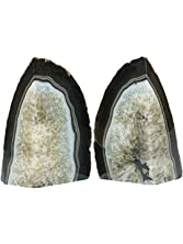 JIC Gem: Polished Dyed Black Agate Bookend(s) - 1 Pair - 3 to 4 Lbs