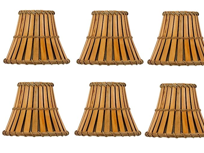 Upgradelights Set Of 6 Bamboo Style 5 Inch Mini Chandelier Shades Clip On