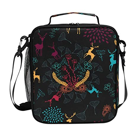 a3d0788eee6c Image Unavailable. Image not available for. Color  DEYYA Christmas Deer Square  Insulated Lunch Tote Bag Cooler Bag Zipper ...