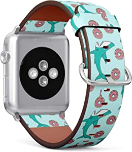 [ Compatible Big Apple Watch 42/44 mm ] Replacement Leather Band Bracelet Strap Wristband Accessory // Shark Donut Pattern