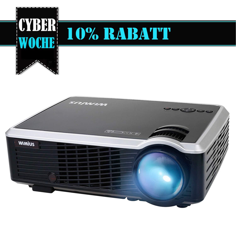 Beamer HD Projektor LED Beamer 3000 Lumen Unterstü tzt 1080P Videoprojektor fü r Heimkino Multimedia WiMiUS