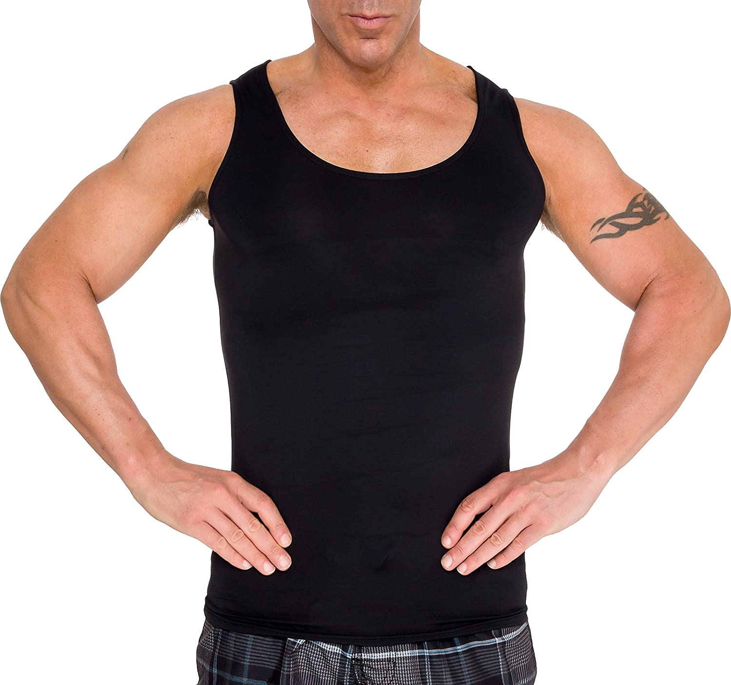 118d5cbb7d Amazon.com: LISH Men's Slimming Light Compression Tank Top Shirt -  Sleeveless Body Shaper Shirt for Weight Loss: Clothing