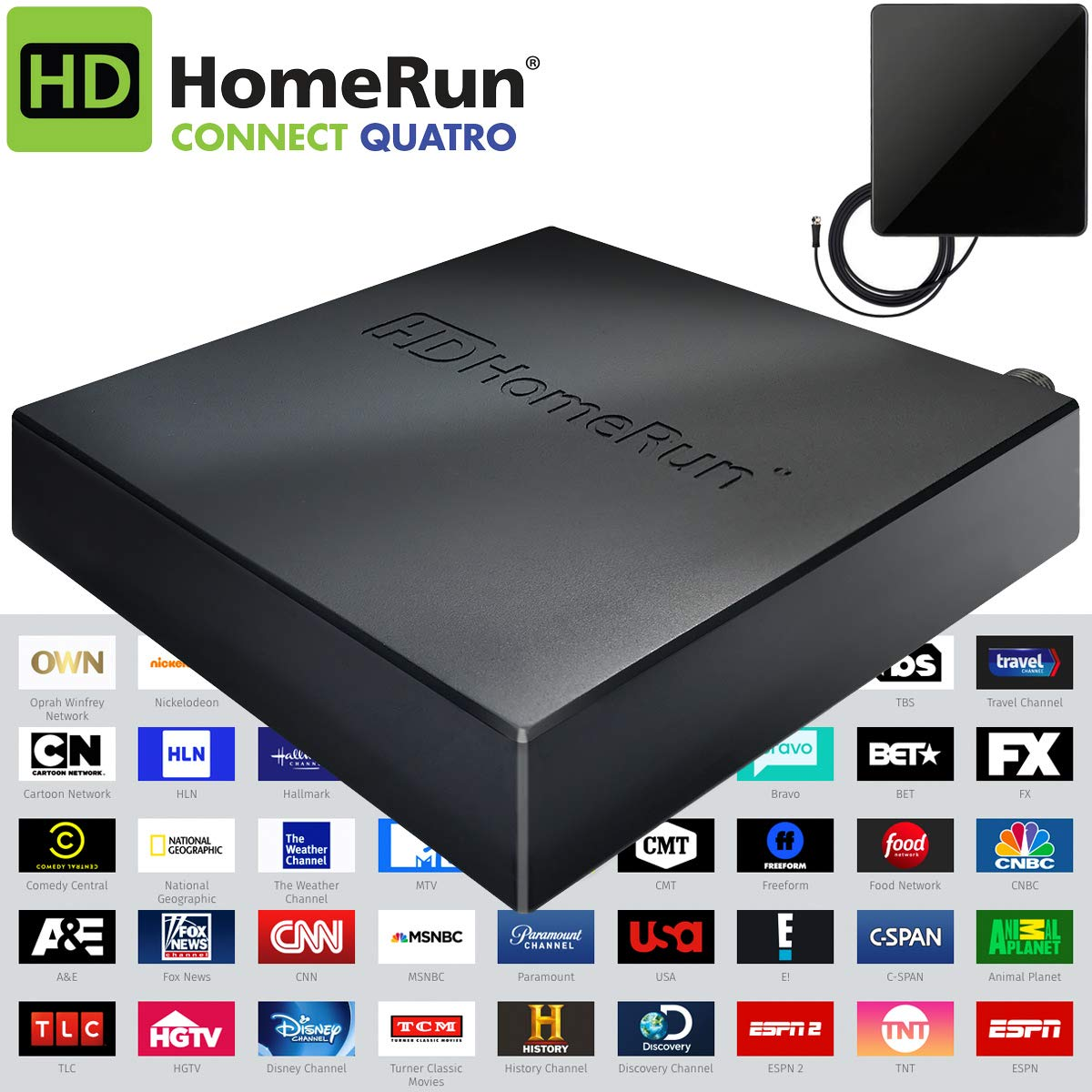 SiliconDust HDHomeRun Connect Quatro Live TV for Cord Cutters 4-Tuner (HDHR5-4US) Bonus Includes Indoor Flat 4K HDTV Multi-Directional Antenna E1SILHDHR54US