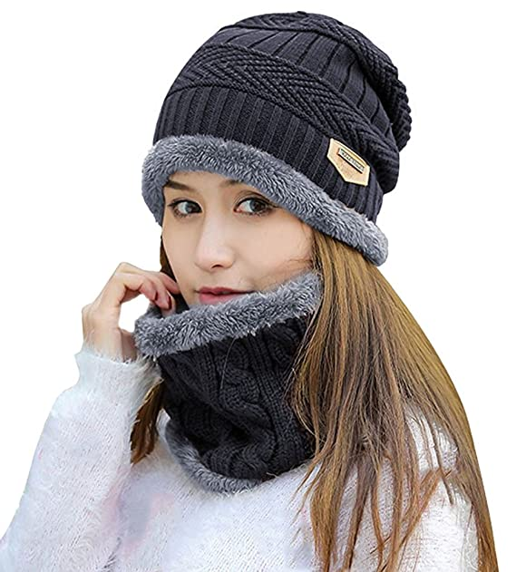 5031dcbfd Winter Hat Scarf for Women Thick Knit Skull Cap Infinity Scarves Warm Snow  Slouchy Beanies Black: Amazon.ca: Clothing & Accessories