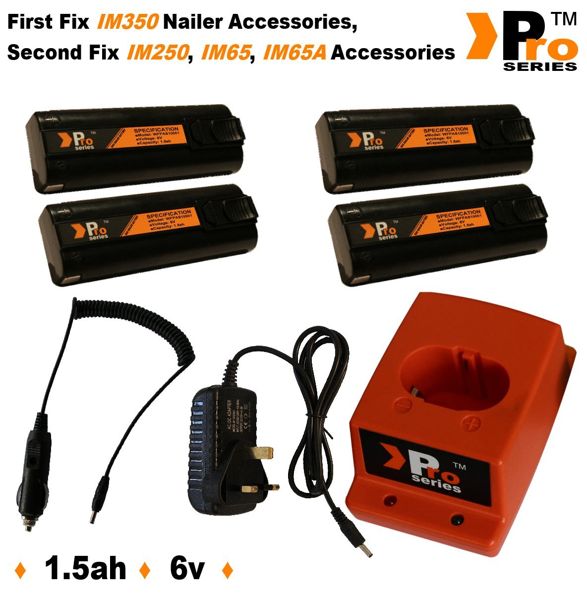 4x Replacement Battery 6V 1.5ah (Pro Series) For Paslode Nailers + Pro Seriese Charger Base + Wall Charger + In Car Charger