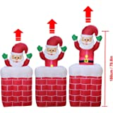 6 Foot Christmas Inflatable Airblown Animated Up and Down Santa Claus in Chimney Xmas Blow Ups for Home Outdoor Lawn Yard Decorations