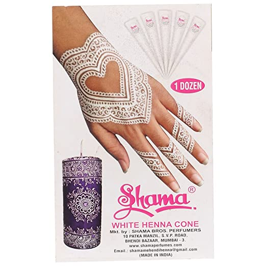 Buy Shama White Heena Cone Hand Set For Women And Girls 10gms