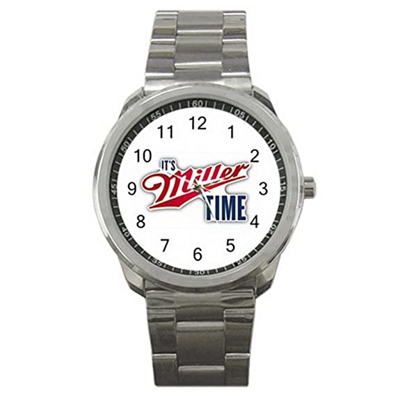 Its Miller Time Beer Drink ES9WLGO475 Relojes de pulsera Mens Wristwatches Stainless Steel