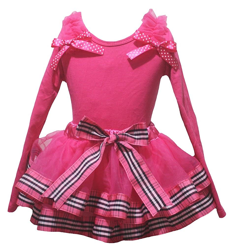 Petitebella Plain Hot Pink L//s Shirt Stripes Ribbon Petal Skirt Outfit Set Nb-8y