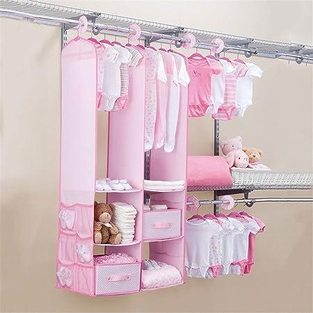 GOTOTOP Hanging Closet Organizer Children Nursery Set Wardrobe Storage Shelves With 2 Drawers