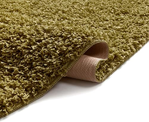 Well Woven Enchanting Pistachio Modern Solid Soft and Fluffy Shag Area Rug 5' x 7