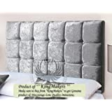 TrendMakers Premium Luxury Tufted Crystal Diamante Crush Velvet Headboards Home Bedroom Sale - SILVER GREY - Height 36""