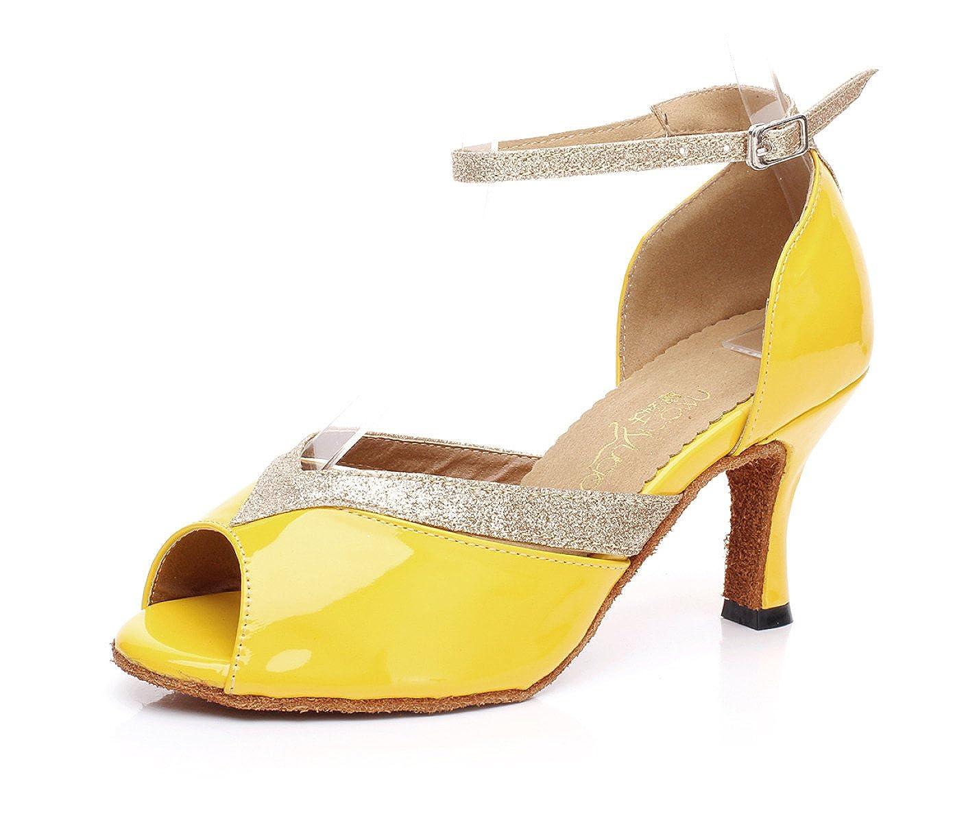 JSHOE Chaussures De Danse Salsa De Latin PU PU Salsa 2694 PU/Tango/Thé/Samba/Moderne/Jazz Sandales Chaussures Talons Hauts,Yellow-heeled7.5cm-UK4/EU35/Our36 - 721bcb2 - piero.space