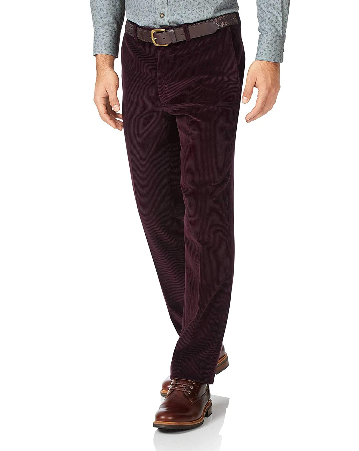 e4d283f5 Wine Slim Fit Jumbo Corduroy Trousers by Charles Tyrwhitt: Amazon.co.uk:  Clothing