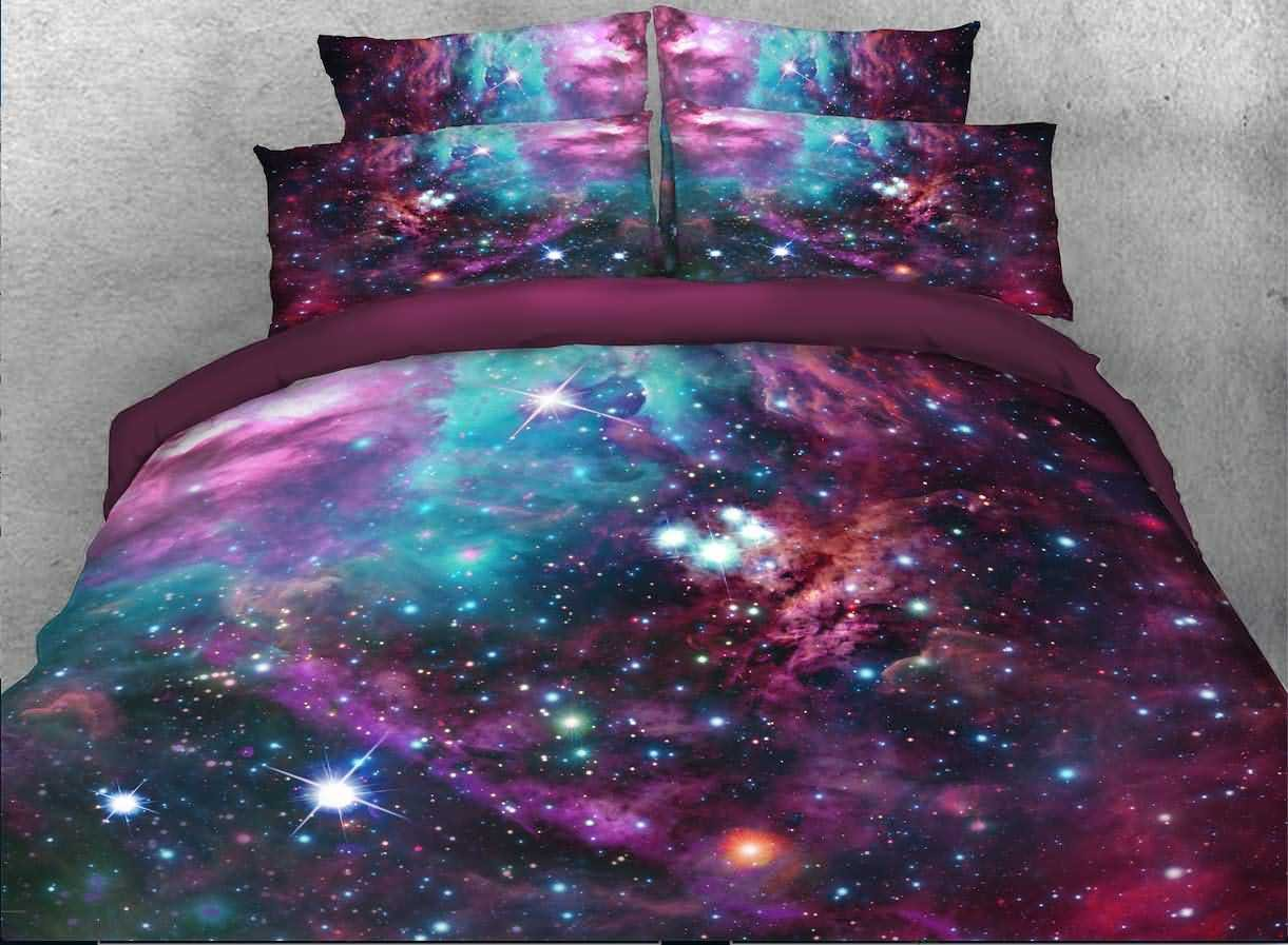 Ammybeddings Colorful Galaxy Bedding 4 Piece Purplish Red Outer Space Duvet Cover King Size 3D Charming Galaxy Print Bedding Sets King, Soft Stylish Home Decor Duvet Cover Set (King, Color 1)