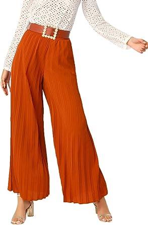 Amazon Com Shein Pantalones Plisados Para Mujer Con Cinturon Sueltos Palazzo M Clothing