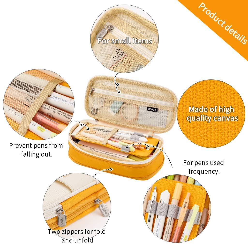 EASTHILL Big Capacity Pencil Pen Case Office College School Large Storage High Capacity Bag Pouch Holder Box Organizer Yellow New Arrival