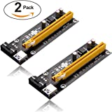 PCI-E 1X to 16X Powered Riser Adapter Card w/ 60cm USB 3.0 Extension Cable 4pin MOLEX to SATA Power Cable - GPU Graphic Card Crypto Currency Mining ETH (2 Pack)