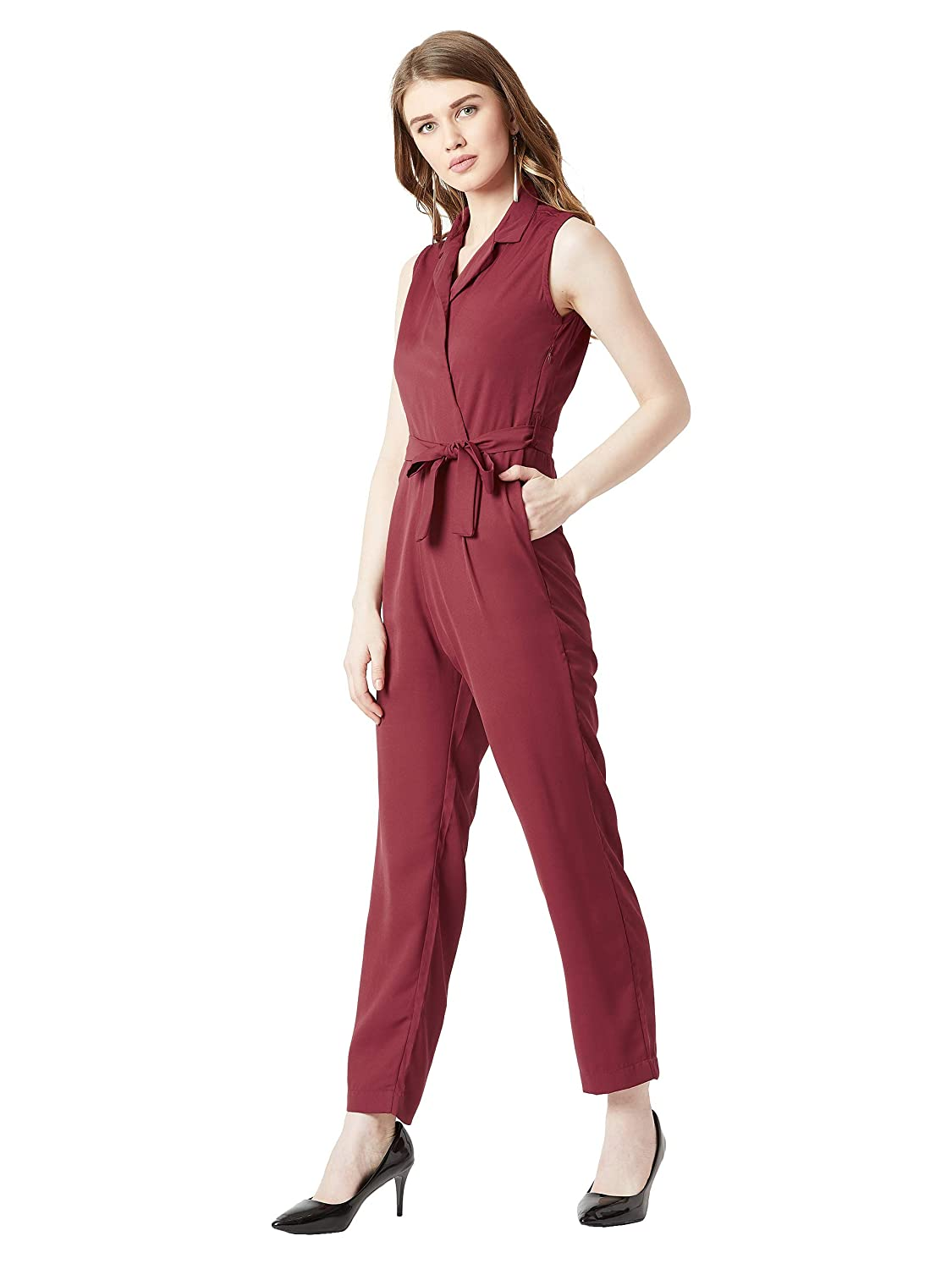 2647f6bee44 Miss Chase Women s Maroon Tie-up Wrap Jumpsuit  Amazon.in  Clothing    Accessories