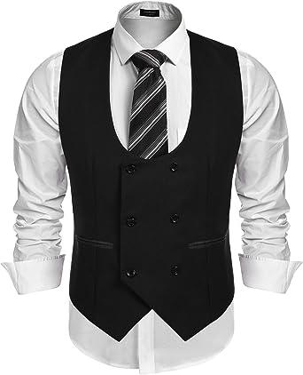 Alion Mens 4 Button Suit Separate Vest Slim Fit V-neck Waistcoat 5 XL