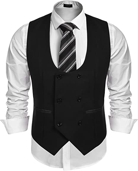 XBRECO Mens Double-Breasted Business Suit Dress Vests,Formal Tuxedo Waistcoat Jacket
