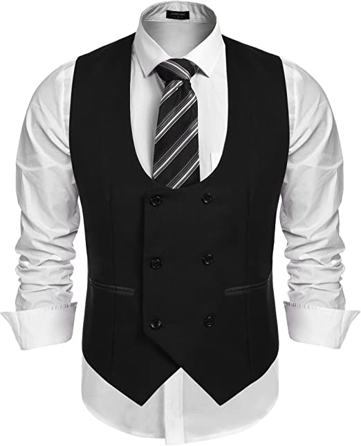 WULFUL Mens Slim Fit Sleeveless Suit Vest Double Breasted Business Dress Waistcoat