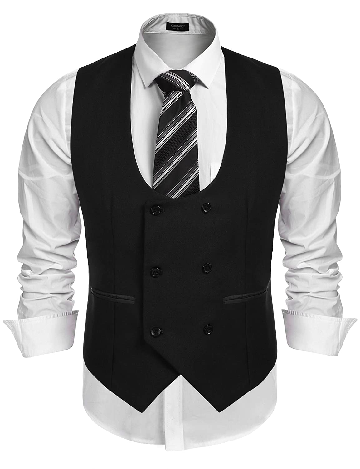 1920s Style Mens Vests COOFANDY Mens Slim Fit Sleeveless Suit Vest Double Breasted Business Dress Waistcoat $29.99 AT vintagedancer.com