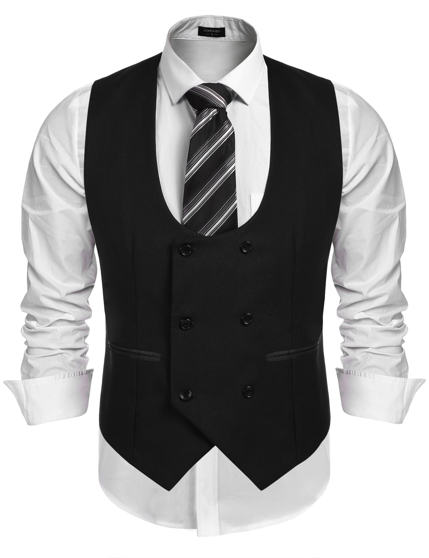 COOFANDY Men's Slim Fit Sleeveless Suit Vest Double Breasted Business Dress Waistcoat 3