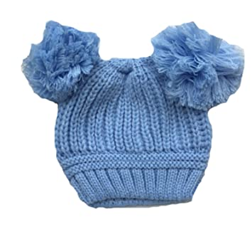 614a53b462a BNWT Baby girls boys unisex pink blue white beige winte hat with pom poms  0-12 Months (Blue)  Amazon.co.uk  Baby