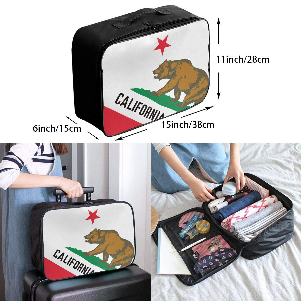 YueLJB California State Flag Lightweight Large Capacity Portable Luggage Bag Travel Duffel Bag Storage Carry Luggage Duffle Tote Bag