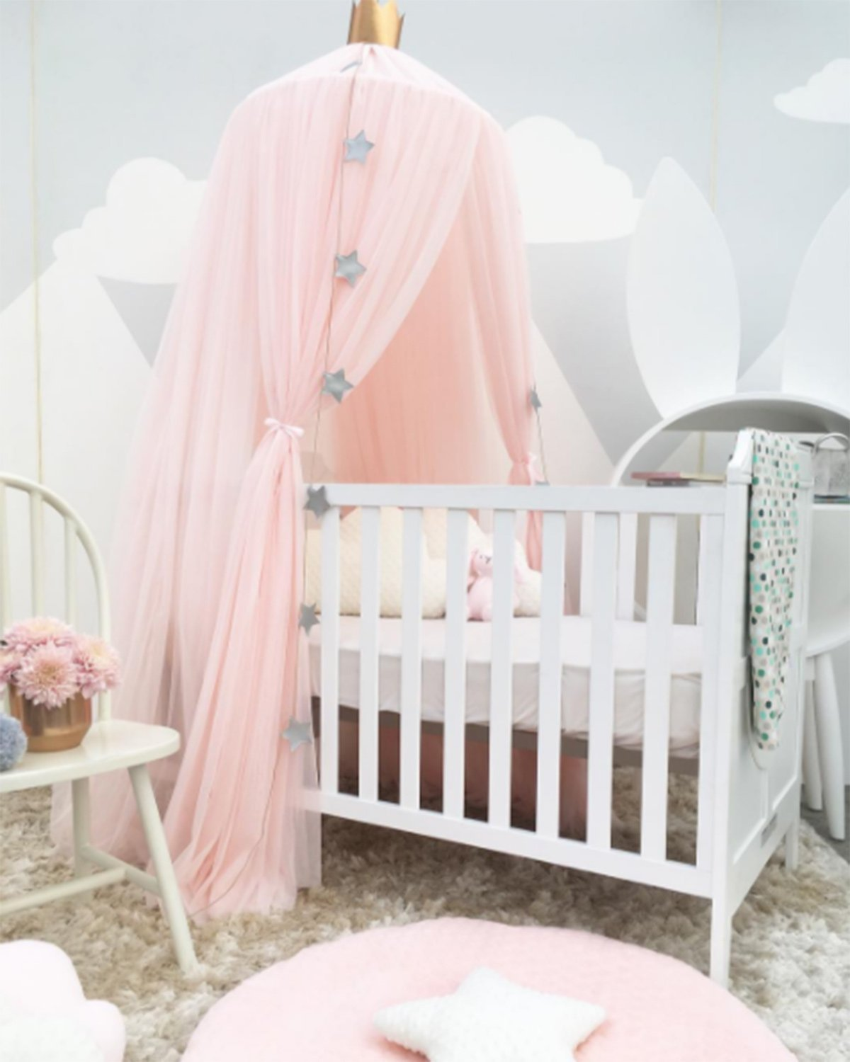 Kids Baby Princess Mosquito Net Bed Canopy with Round Lace Dome Children Playing Reading canopy Tent Netting Curtains Khaki