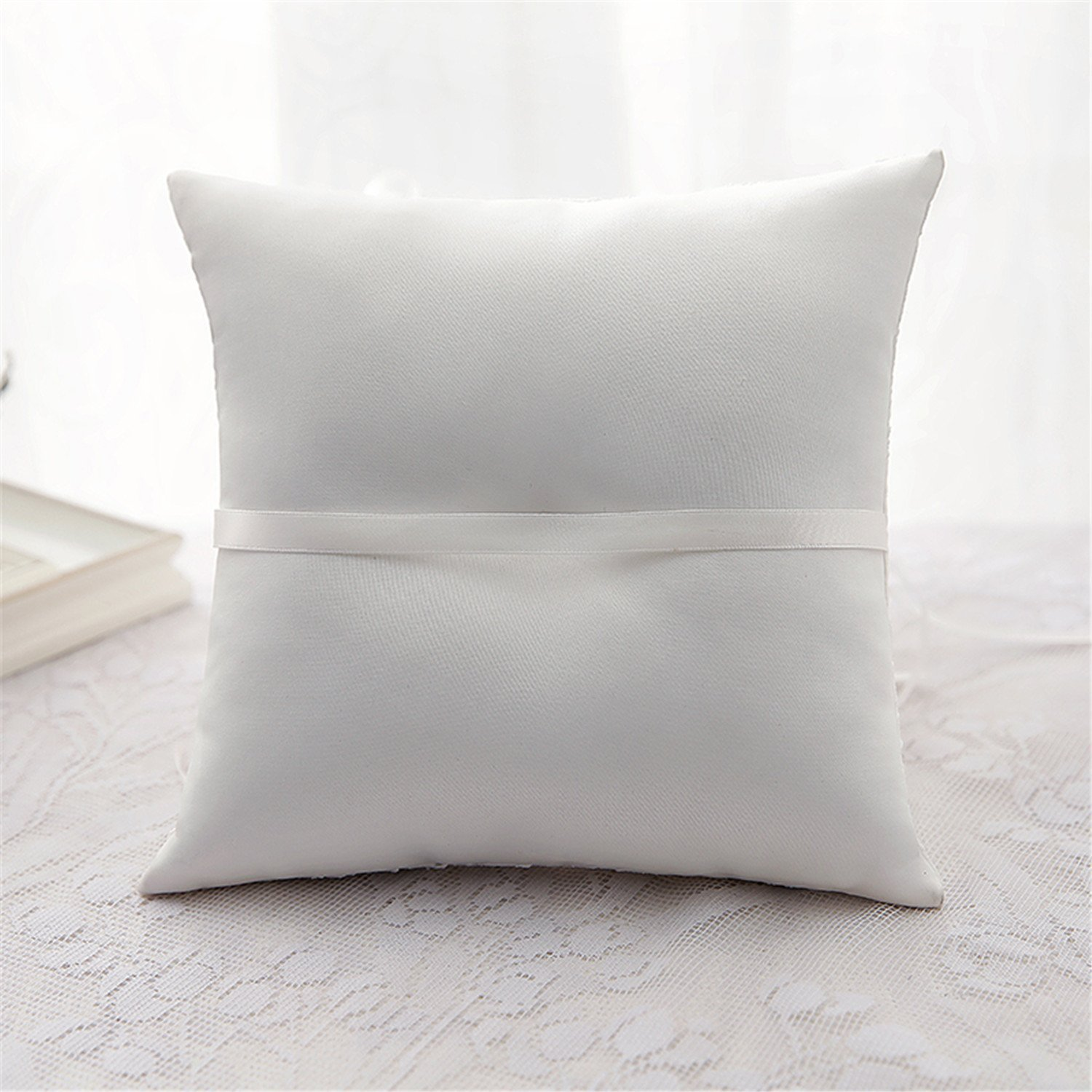 New Trends Lace wedding ring pillow wedding party Supplies wedding Ring Bearer Pillows 8.278.27Inch (Ivory) (R01)
